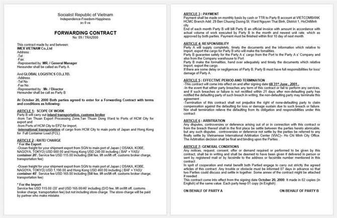 mẫu hợp đồng forwarder bằng tiếng Anh theo mẫu hợp đồng tại việt nam số 2