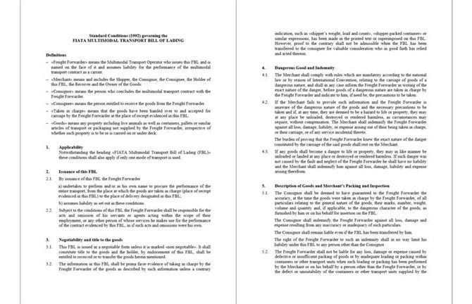 Điều khoản FIATA - FBL - 1992