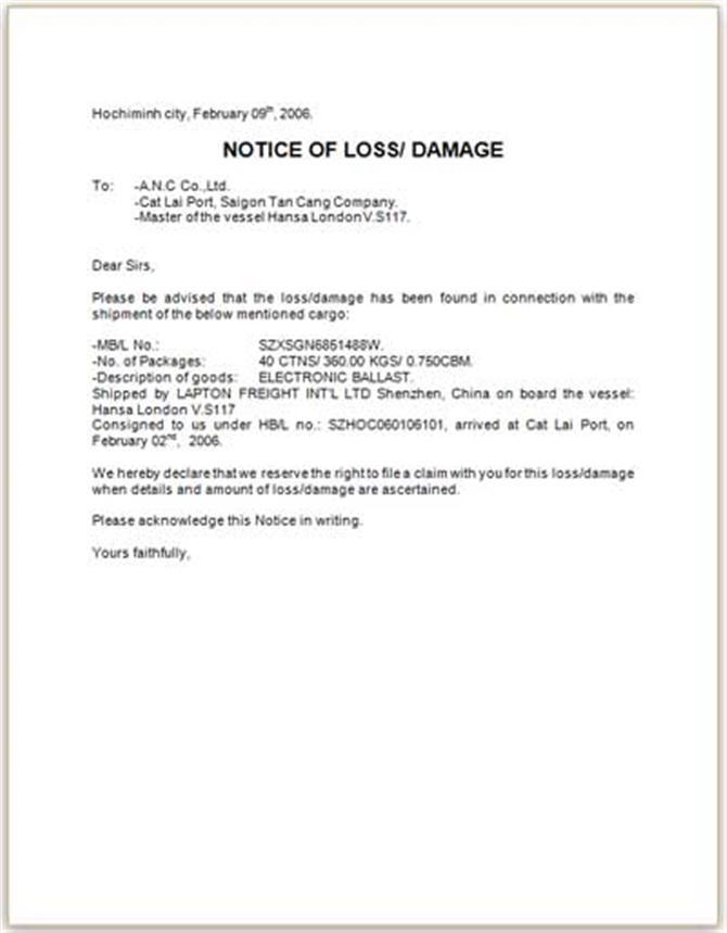 Mẫu giấy Notice of Loss/Damage