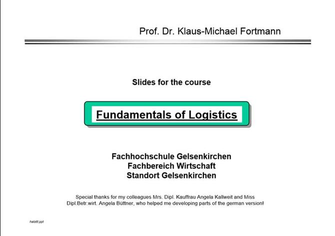 Fundamentals of logistics