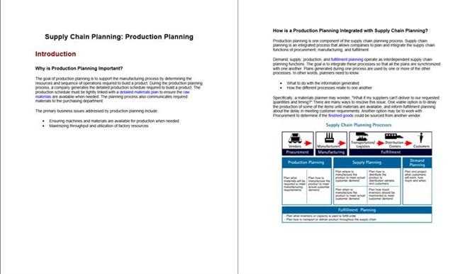 Supply chain planning - Production planning