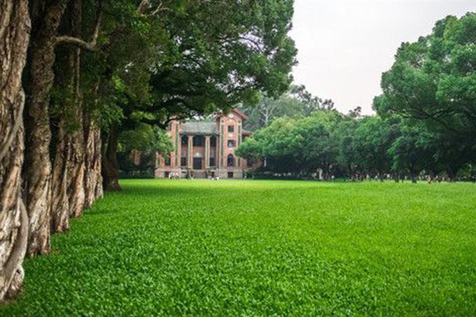 Khuôn viên trường với thảm cỏ xanh mát