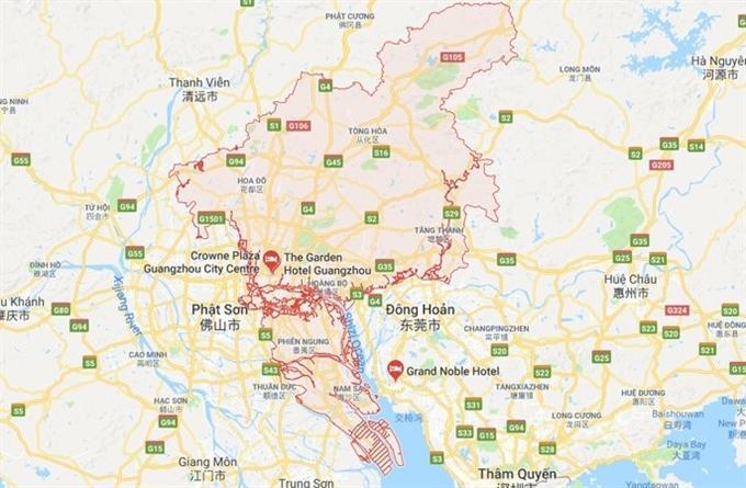 vị trí của Quảng Châu trên bản đồ thế giới