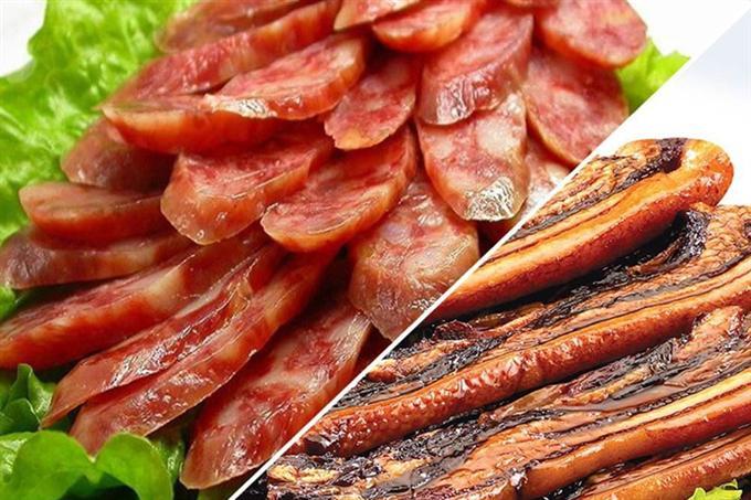 Thịt khô và lạp xưởng đậm đà, thơm ngon