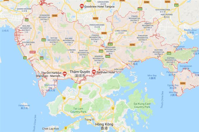 Vị trí Thâm Quyến trên bản đồ