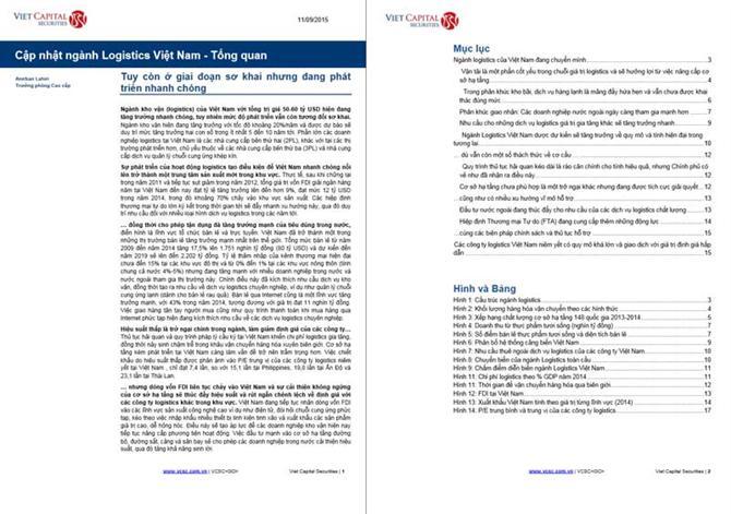 Cập nhật ngành Logistics Việt Nam - Tổng quan 2015