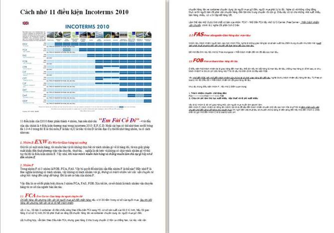 Cách nhớ 11 điều kiện Incoterm 2010