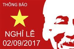 Thông báo : Lịch nghỉ lễ Quốc Khánh 2017