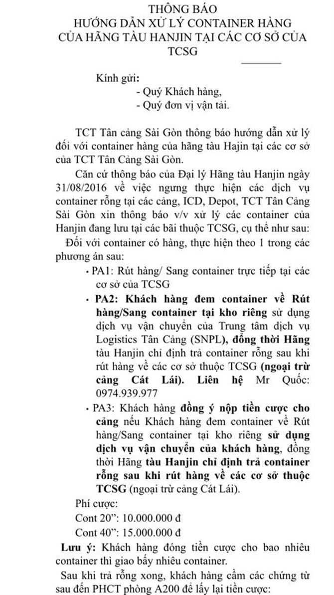 xử lý container Hanjin