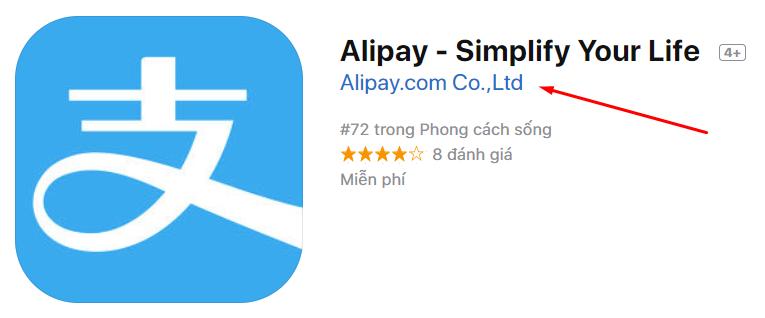 ứng dụng alipay trên appstore của apple